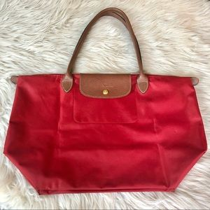 Longchamp   Red Le Pliage Shopping Tote